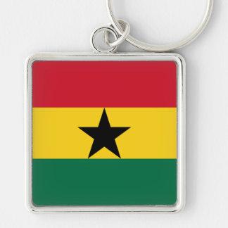 Bandera GH de Ghana Llavero Cuadrado Plateado