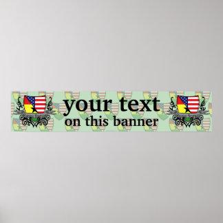 Bandera Ghanés-Americana de la bandera del escudo Póster