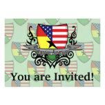 Bandera Ghanés-Americana del escudo Invitación Personalizada