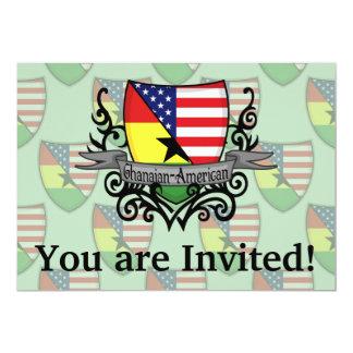 """Bandera Ghanés-Americana del escudo Invitación 5"""" X 7"""""""