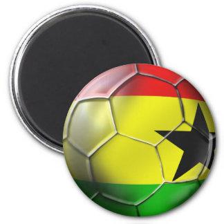 Bandera ghanesa del balón de fútbol de Ghana para  Imán Redondo 5 Cm
