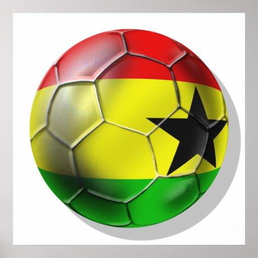 Bandera ghanesa del balón de fútbol de Ghana para  Poster