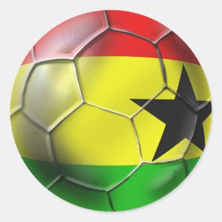 Bandera ghanesa del balón de fútbol de Ghana para Pegatina Redonda