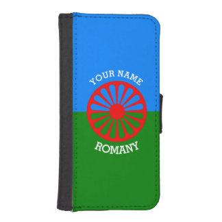 Bandera gitana personalizada de los viajeros del fundas cartera para teléfono