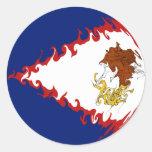 Bandera Gnarly de American Samoa Pegatina Redonda