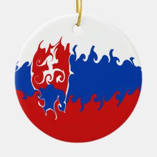 Bandera Gnarly de Eslovaquia Adorno Redondo De Cerámica