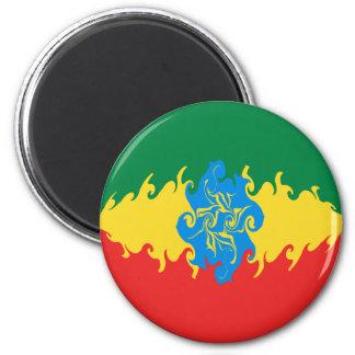 Bandera Gnarly de Etiopía Imán Redondo 5 Cm