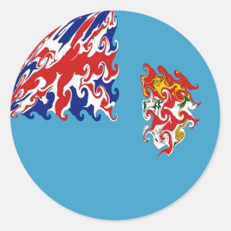 Bandera Gnarly de Fiji Etiquetas Redondas