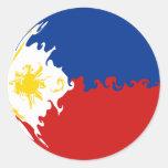 Bandera Gnarly de Filipinas Etiquetas Redondas