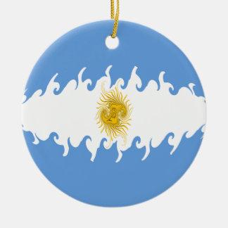 Bandera Gnarly de la Argentina Adorno Navideño Redondo De Cerámica