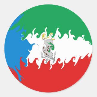 Bandera Gnarly de la Guinea Ecuatorial Pegatina Redonda