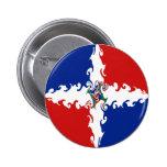 Bandera Gnarly de la República Dominicana Pin Redondo De 2 Pulgadas