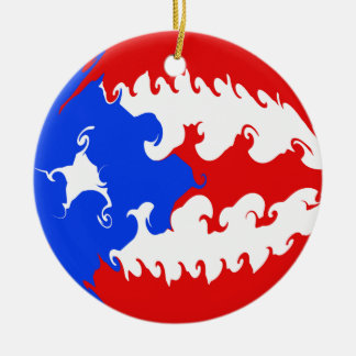 Bandera Gnarly de Puerto Rico Adorno Redondo De Cerámica