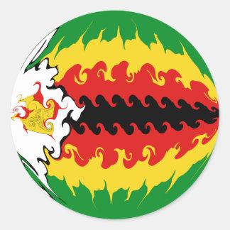 Bandera Gnarly de Zimbabwe Pegatina Redonda
