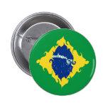 Bandera Gnarly del Brasil Pin Redondo De 2 Pulgadas