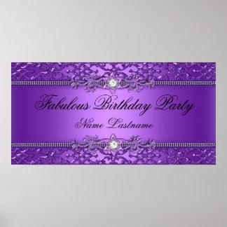 Bandera grabada en relieve damasco púrpura elegant póster