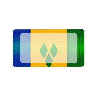 Bandera granadina pelada moderna etiquetas de dirección