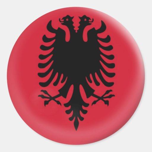 bandera grande de Albania de 6 pegatinas Pegatinas Redondas