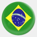 bandera grande del brasilen@o del Brasil de 6 Pegatina Redonda