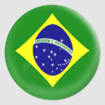 bandera grande del brasilen@o del Brasil de 6 Pegatinas Redondas