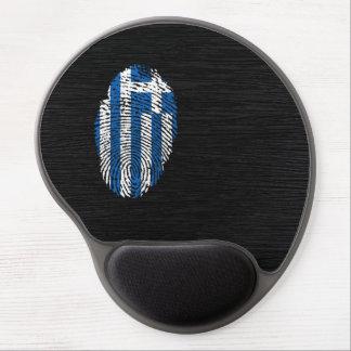 Bandera griega de la huella dactilar del tacto alfombrillas de raton con gel