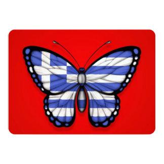 """Bandera griega de la mariposa en rojo invitación 5"""" x 7"""""""