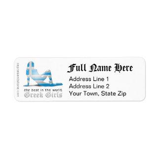 Bandera griega de la silueta del chica etiquetas de remite