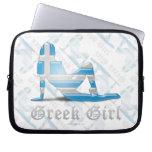 Bandera griega de la silueta del chica fundas ordendadores