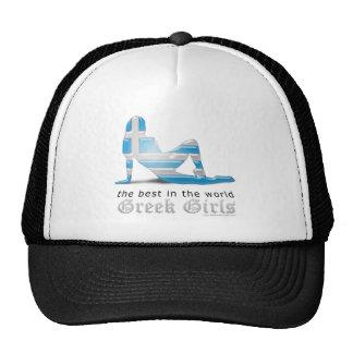 Bandera griega de la silueta del chica gorras de camionero