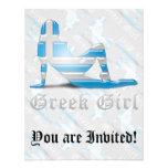 Bandera griega de la silueta del chica comunicado personalizado
