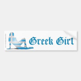 Bandera griega de la silueta del chica pegatina para auto
