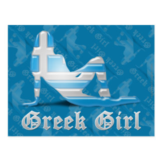 Bandera griega de la silueta del chica postal