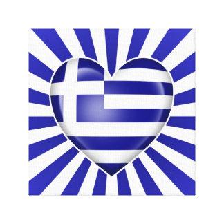 Bandera griega del corazón con la explosión de la impresiones en lona estiradas