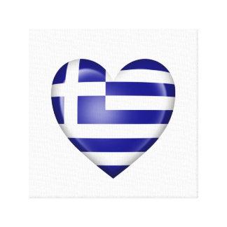 Bandera griega del corazón en blanco lona envuelta para galerias