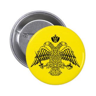 Bandera griega el monte Athos de la iglesia Pin Redondo De 2 Pulgadas