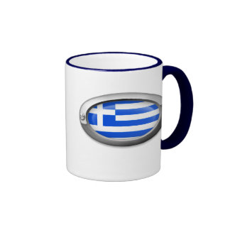 Bandera griega en el marco de acero tazas de café