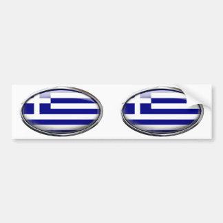 Bandera griega en el óvalo de cristal pegatina para auto