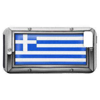 Bandera griega en un marco de acero iPhone 5 Case-Mate carcasa
