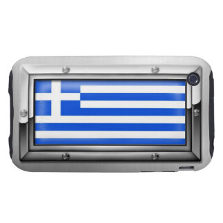 Bandera griega en un marco de acero funda resistente para iPhone 3