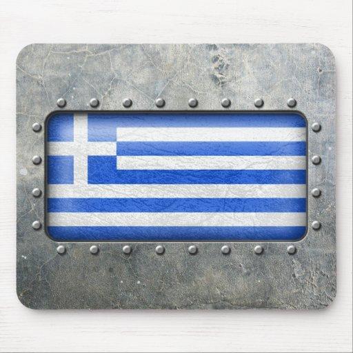 Bandera griega industrial tapete de raton