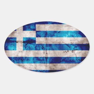Bandera griega pegatina ovalada
