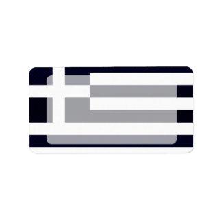 Bandera griega pelada moderna etiqueta de dirección