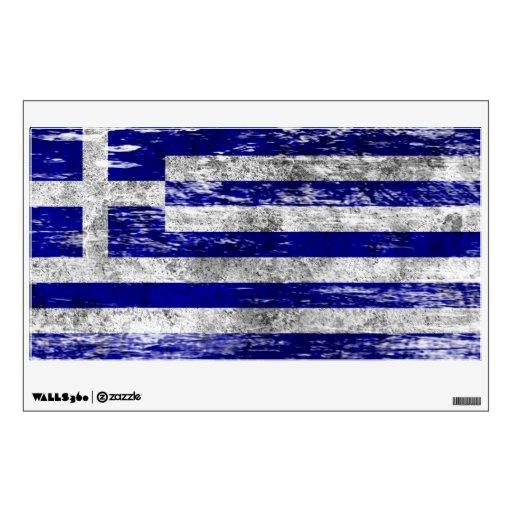 Bandera griega rascada y llevada vinilo adhesivo