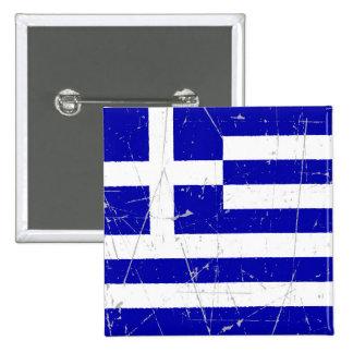Bandera griega rascada y rasguñada pin