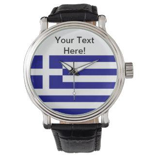 Bandera griega reloj de mano