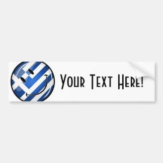 Bandera griega sonriente pegatina para auto