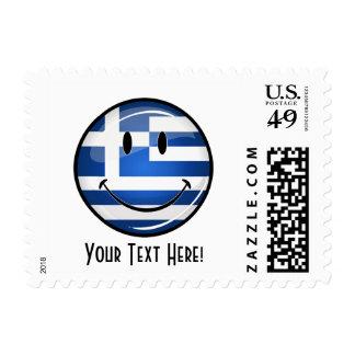 Bandera griega sonriente franqueo