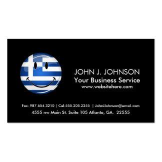 Bandera griega sonriente tarjetas de visita