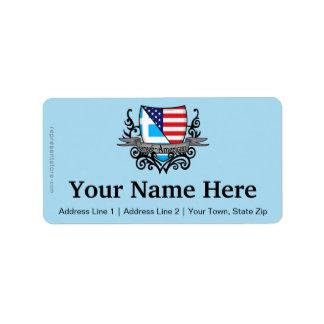 Bandera Griego-Americana del escudo Etiquetas De Dirección