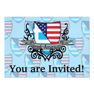 """Bandera Griego-Americana del escudo Invitación 5"""" X 7"""""""